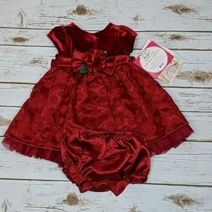 Sweet Heart Rose Red Holiday Dress 6/9M